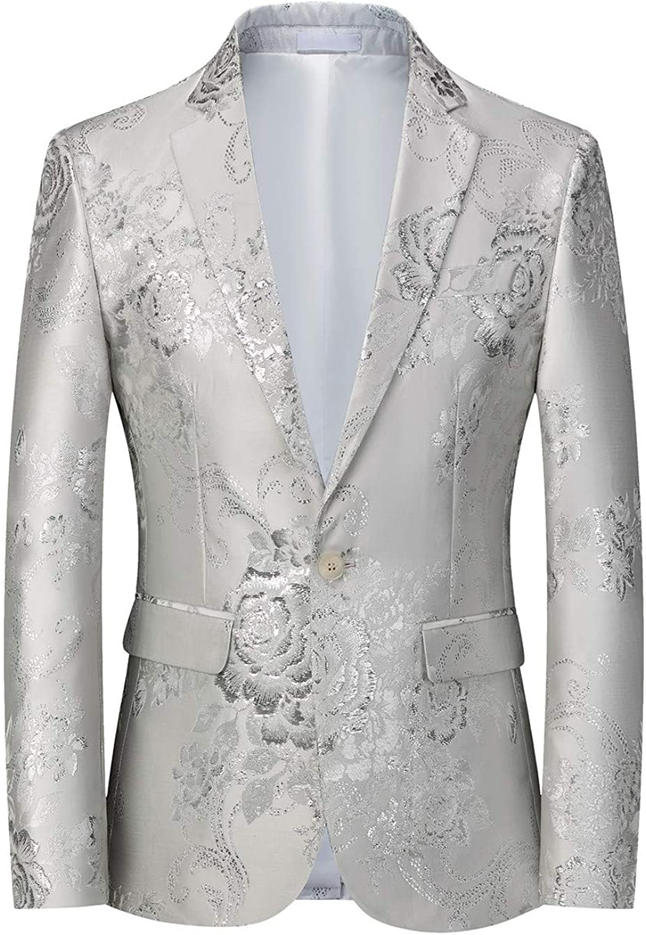 MOGU Mens Slim Fit Blazer Elegant Jacquard Tuxedo Jacket for Daily Prom Party