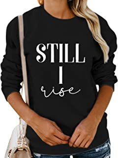 Nlife Women Still I Rise Blouse Long Sleeve Round Neck Solid Color Casual Sweatshirt Tops