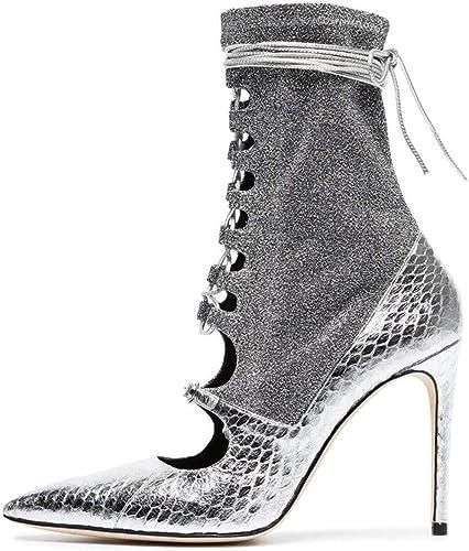 XWQYY Frauen High Heel Mode Stiefel Stiefel Stiefel Silber Verband sexy High Heels Zeigen Schuhe,Silber-45EU  fabrik direktverkauf