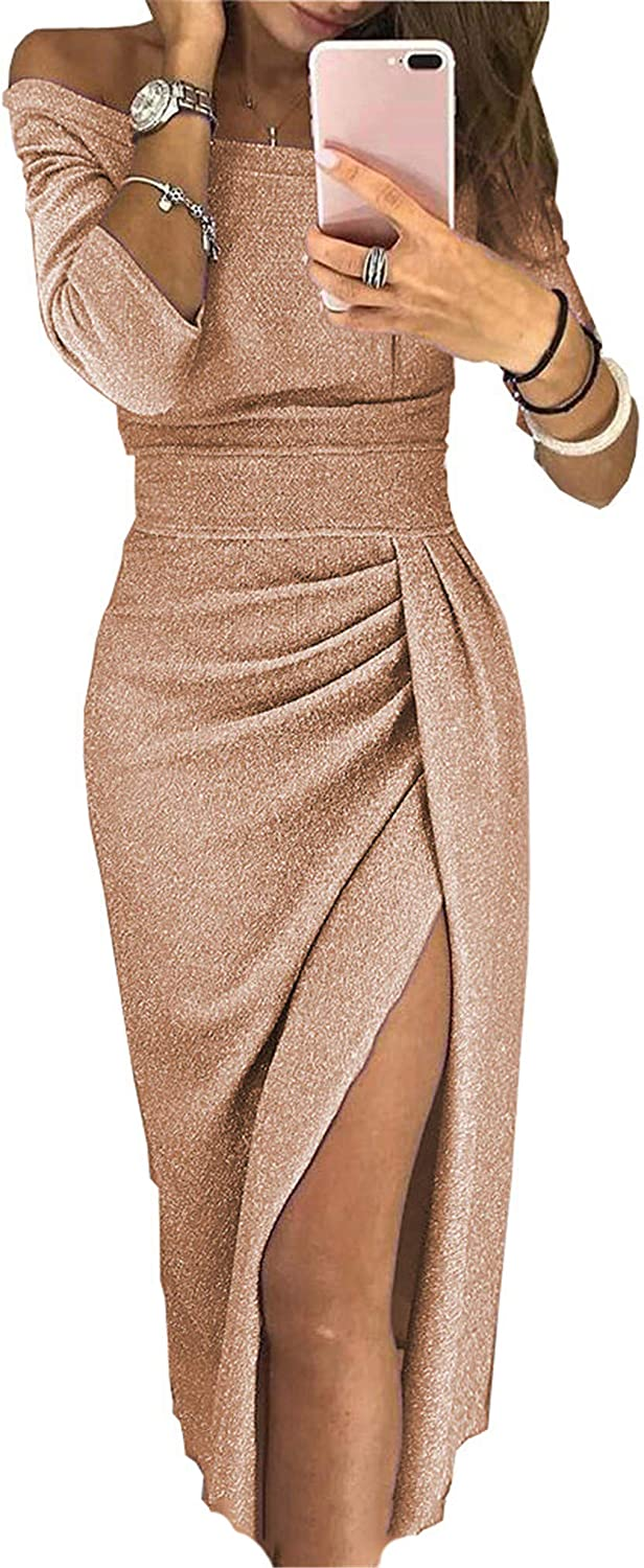 Soluo Clearance Women's Off Sequins Satin Bridesmaid Dress Mermaid Wedding Party Gown (Gold,X-Large)