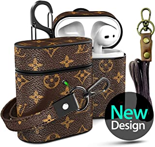 Designer Leather Case for Airpods Come with Neck Lanyard and Wristlet Strap, Keychain Clip, Jansae Classic Luxury Air pod Accessories Kits Compatible with Airpods 1/2 Case (Brown/Flower)