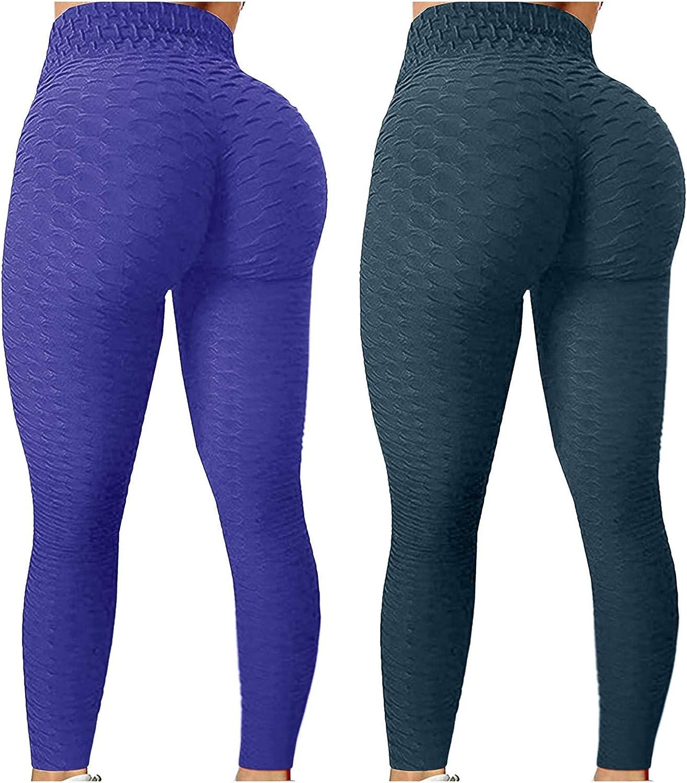 2 Pack Womens Leggings, Butt Lift Leggings for Women Yoga Pant High Waisted Butt Lifting Bubble Pants