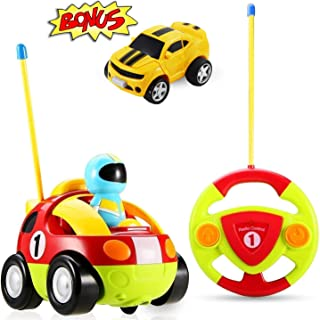 Haktoys My First RC Cartoon Race Car w/ Music Button and LED Headlights (Bonus Push & Go Car Included), Great Gift Racing Action Figure Radio Control Toy for Toddlers and Kids