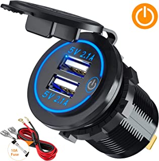 ?Upgraded Version?Car Charger with Switch, CHGeek 12V/24V 22W Waterproof 2.1A & 2.1A(4.2A)Dual USB Fast Charger Socket Power Outlet for Marine, RV, Boat, Motorcycle, Truck, Golf Cart and More
