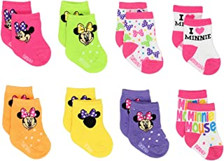 Mickey and Minnie Mouse Baby Boys Girls 8 pack Socks (12-24 Months, Minnie Pink)