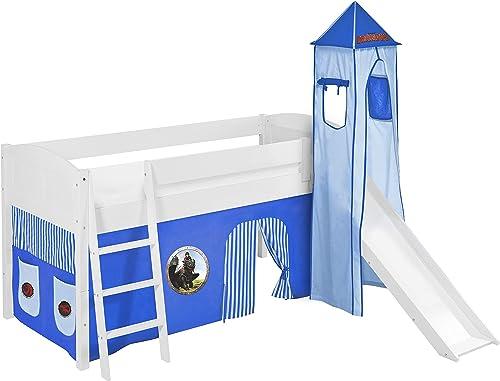 Lilokids Spielbett IDA 4106 Dragons Blau - Teilbares Systemhochbett Weiß - mit Turm, Rutsche und Vorhang