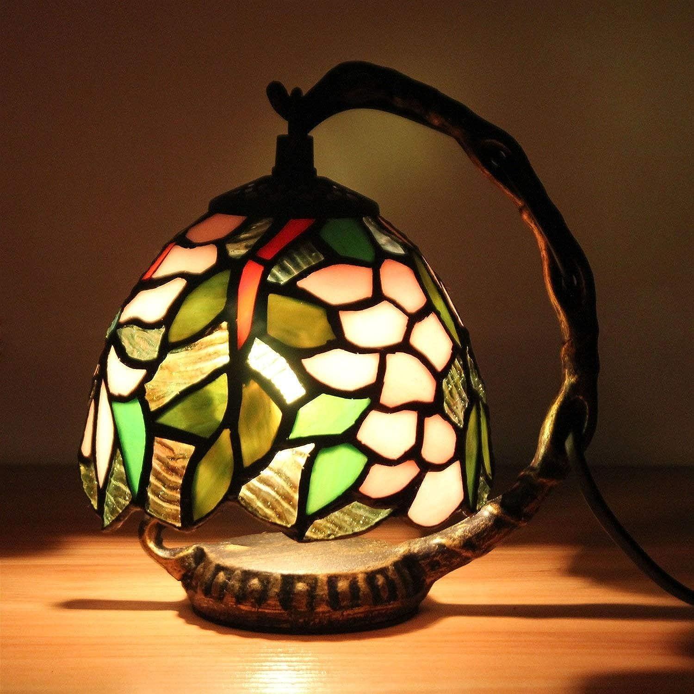 JZQ Tischlampe Europische farbige dekorative Tischlampe 5 Zoll romantische kreative Wisteria verlsst LED-Schlafzimmer-Nachttischlampe-Licht, die Nachtlicht dekorative Tischlampe