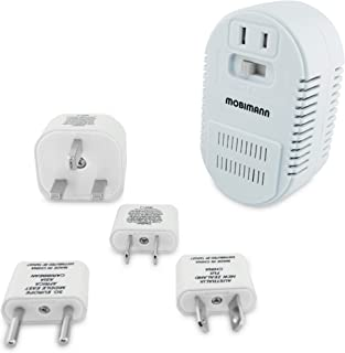 Mobimann 25W/1875W Dual Wattage Universal World Travel Adapter and Voltage Converter - 220V to 110V Transformer for Hair D...