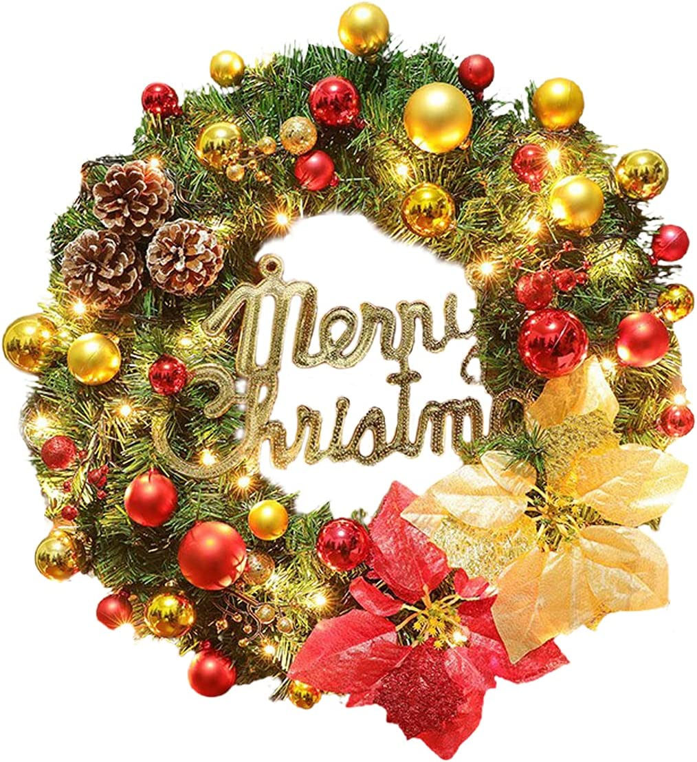 GWOKWAI overseas Artificial Christmas Wreath with LED Max 87% OFF 15.8In Merry Light