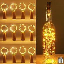 [12 pack] flesverlichting, kolpop kurkverlichting voor wijnflessen, 2m 20 LED koperdraad kerstverlichting voor feestjes, b...
