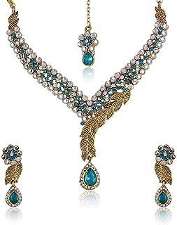 Shining Diva gold plated Choker For Women ( Blue )