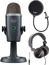 Blue Yeti Nano USB Microphone (Shadow Gray) with Studio Headphones and Knox Gear Pop Filter
