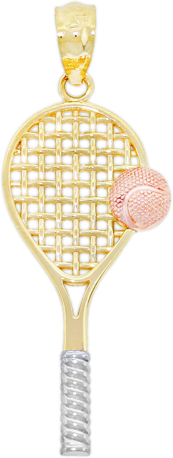 Charm America - Gold Tennis Racquet with Rose Gold Ball - 10 Karat Solid Gold
