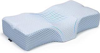 بالش فوم حافظه کانتور Adkwse برای درد گردن ، بالش دهانه رحم برای خواب ، بالش ارتوپدی برای حمایت از گردن ، بالش های تخت خواب برای خواب ، پشت و شکم ، پوشش قابل شستشو (ابریشم یخی آبی)