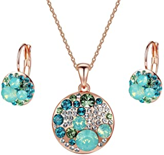 EVEVIC Swarovski Crystals Round Disc Pendant Necklace Earrings for Women 14K Gold Plated Hypoallergenic Jewelry Sets