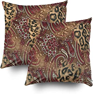 Musesh trendy safari leopard print Cushions Case Throw Pillow Cover For Sofa Home Decorative Pillowslip Gift Ideas Household Pillowcase Zippered Pillow Covers 16X16Inch