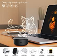 JCMKJ 3D Night Light Pet Cat, 3D Optical Illusion Lamp Touch Switch Bedside Lamp 7 Colors Changing LED Lamps for Girls Kids Children Women (Pet Cat) (Colorful)