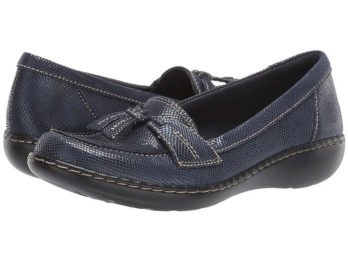 Clarks  Ashland Bubble (Navy Snake Leather) Womens Slip on  Shoes