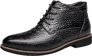 Gaorui Men's Winter Warm Fur Lined Leather Snow Boot Alligator Business Dress Formal Shoe