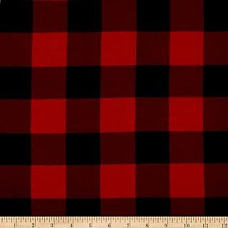 TELIO Stretch Bamboo Rayon Jersey Knit Print Buffalo Check Red Black Fabric by The Yard