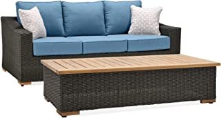 La-Z-Boy Outdoor New Boston Resin Wicker Patio Furniture Sofa with Pillows and Coffee Table, Denim Blue with All Weather Sunbrella Cushions