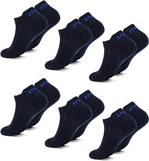 Fullluwaa Lot de 6 ou 12 Paires Chaussettes Homme Femme de Sport Coton Courtes Chaussettes
