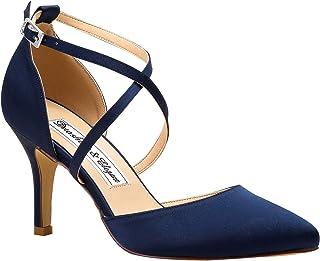 Duosheng & Elegant HC1901 Femme Bout Pointu Talon Haut Escarpins Sangle croisée Satin Chaussures de Mariage de mariée de s...