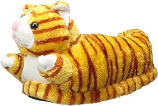 Image of Orange Tabby Cat Animal Slippers for Men