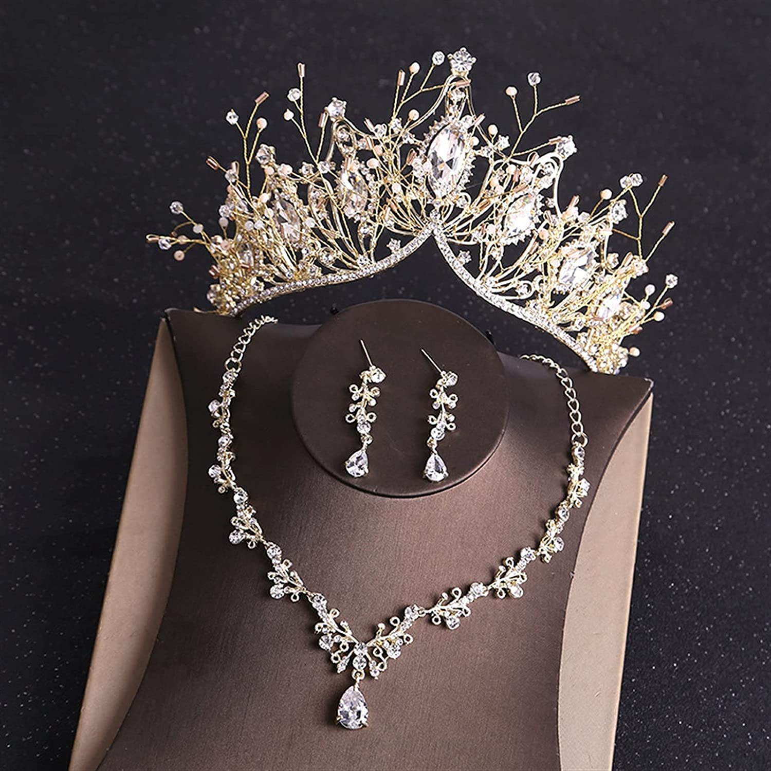YUANBOO Baroque Retro Costume Bridal Jewelry Sets Rhinestone Crystal Gold Tiara Crown Earrings Necklace Wedding Bride Luxury Jewelry Set (Metal Color : 3Pcs Gold Set)