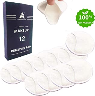 12 Packs Reusable Bamboo Makeup Remover Pads with Cotton Storage Bag 4 Layers 100% Organic Bamboo Facial Cotton Rounds Eco-friendly Waste Free