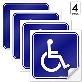 Sigo Signs (4 Pack) Handicap Stickers - Disabled Wheelchair Sign, 4½ X 4½
