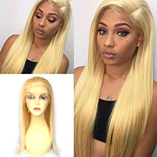 Ninilady 613 Blonde Glueless Lace Front Wigs Human Hair with Baby Hair Silky Straight Full Lace Human Hair Wigs for Women Natural Hairline (12inch, Lace Front Wig)