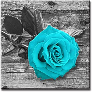 Teal Color Rose Flowers Pictures Wall Art Home Decor - Black and White Canvas Artwork Gift for Women and Girls - Kitchen Living Room Bathroom Bedroom Accessories Decorations - Framed Ready to Hang