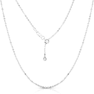 Verona Jewelers Sterling Silver 1.5MM Diamond Cut Adjustable Bead Chain- 925 Rice Bead, Oval Bead Chain in 4 Colors