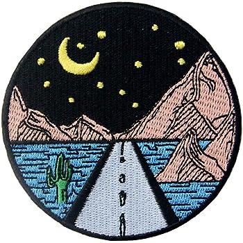 夜の星の下の長い道刺繍のバッジのアイロン付けまたは縫い付けるワッペン
