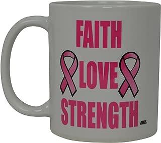 Best Coffee Mug Pink Ribbon Cancer Survivor Faith Love Strength Novelty Cup Great Gift Idea For Breast cancer Awareness Her Women Mom Grandmother (Faith)