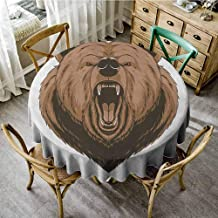 Lauren Russell Tassel Tablecloth Bear Angry Scary Face Powerful Vicious Beast Mascot Cartoon Character with Fangs Caramel Dark Brown Food Round Tablecloth Diameter 70