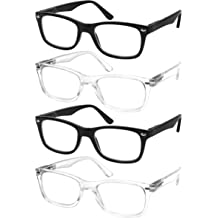 d954ef944ad Reading Glasses Set of 4 Black Quality Readers Spring Hinge Glasses for  Reading for Men and