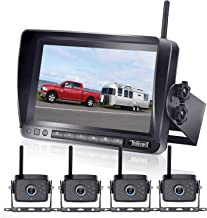 $299 » DoHonest FHD 1080P Digital Wireless 4 Backup Camera and 7'' Monitor Kit Split Screen for Trailers,RVs,Trucks,Campers,5th W...