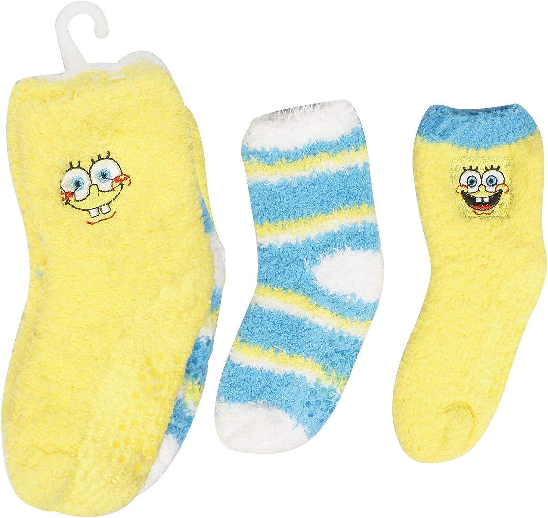 3-Pack SpongeBob Squarepants Baby Toddler Fuzzy Socks, Yellow