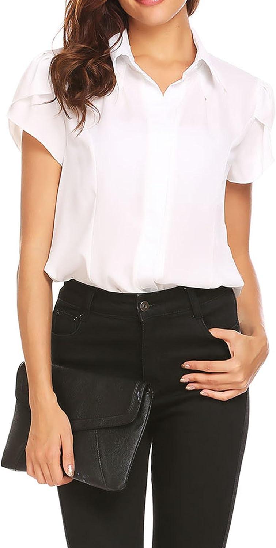 Beyove Women's Chiffon Blouse Puff Sleeve Collared Shirts Pleated Button Down Casual Office Short Sleeve Shirt Tops