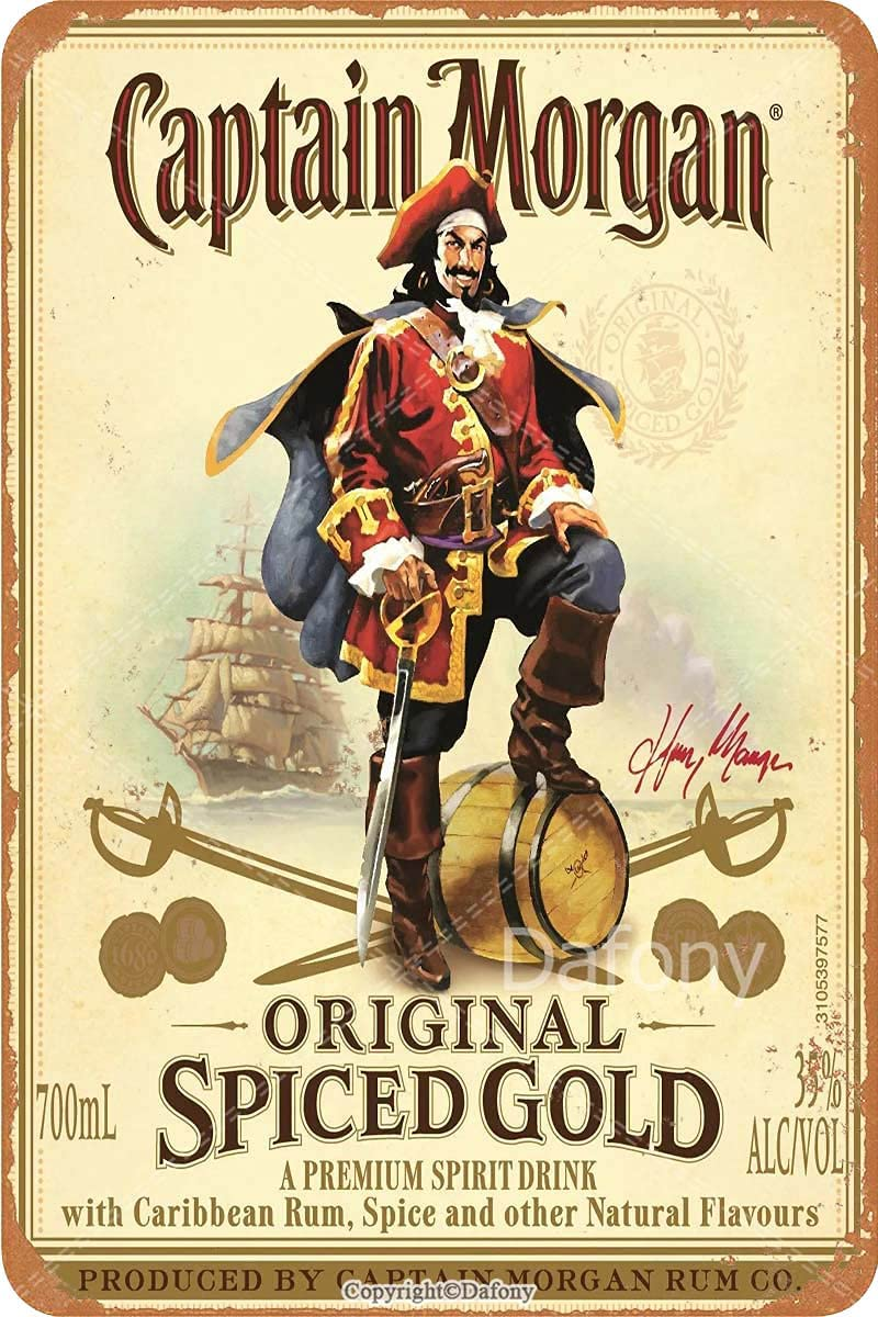 Vintage Tin Sign - Classics Captain Morgan Spiced Gold Poster - Retro Metal Signs Poster Iron Painting Plaque Wall Decor for Bar Cafe Home Garage 8×12 Inch