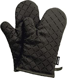 AICOK Oven Mitts, Heat Resistant Oven Gloves, Non-Slip Cooking Gloves, Washable Kitchen Mitts for Baking, Barbecue, Black