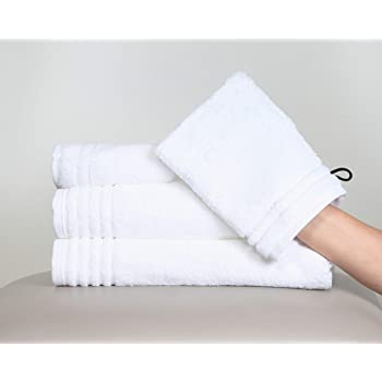 Effortless Bedding Supersoft Luxury Hotel & Spa Quality 100% Cotton Plush 4-Piece Bath Towel Set - Bath Towel, Hand Towel, Face Towel & Wash Mitt (White)