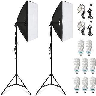Amzdeal Softbox Kit Fotografía con 8 Bombillas 135W 2 softboxes 2 trípodes Kit de Iluminación Profesional para Estudio Fotográfico Luz Sufieciente con Bolsa Transporte
