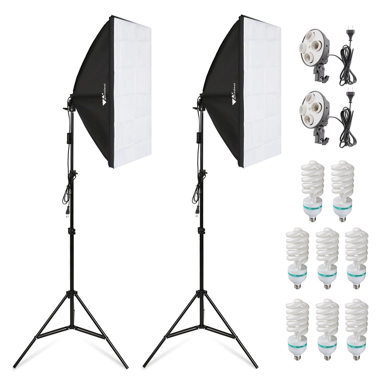 Amzdeal Softbox Kit Fotografía con 8 Bombillas 135W, 2 softboxes, 2 trípodes, Kit de Iluminación Profesional para Estudio Fotográfico, Luz Sufieciente con Bolsa Transporte: Amazon.es: Electrónica