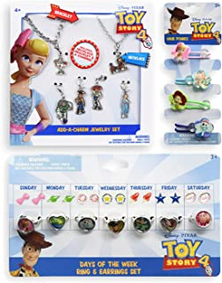 Disney Pixar Toy Story 4 Accessories Set - Add-A-Charm Jewelry Set, Days of The Week Stick on Earring and Plastic Ring Set and 4 Hair Ponytail Bands
