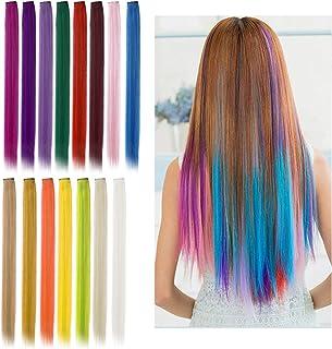 Viesap Extensiones De Cabello, 15 Pcs Arco Iris Clip De Color Pelucas Lacio Clip Sintético Hair Extensions Accesorios De P...