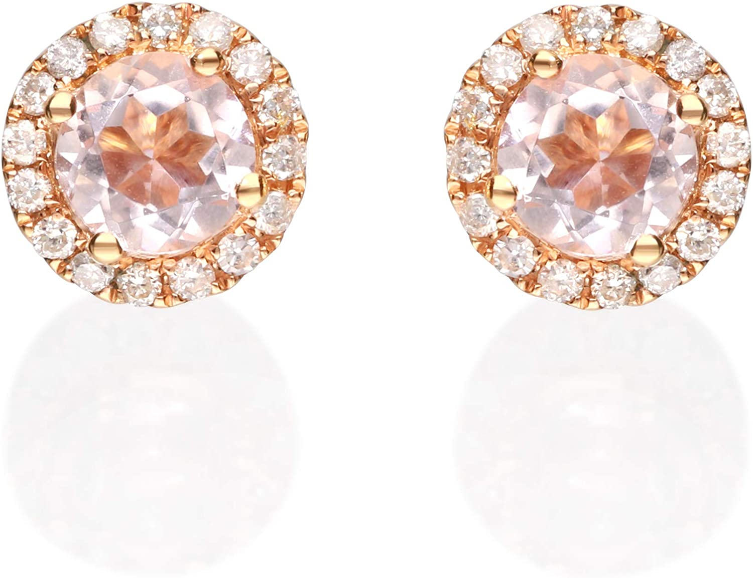 Gin & Grace 14K Rose Gold Natural Diamond(I1) Stud Earring with Genuine Morganite Daily Work Wear Jewelry for Women Gifts for Her