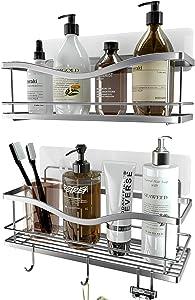KINCMAX Shower Caddy Bathroom Shelf, No Drilling Traceless Adhesive Bathroom Storage Organizer, SUS304 Rustproof Food Storage Basket, 2-in-1 Kitchen Spice Racks-2 Pack (Polished Silver)